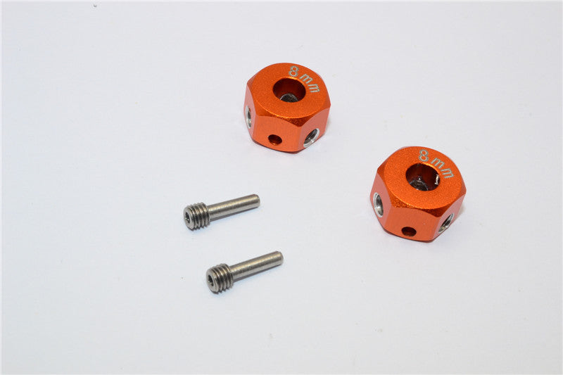Aluminum Universal Hex Adapter 12mmx8mm - 2Pcs Set Orange