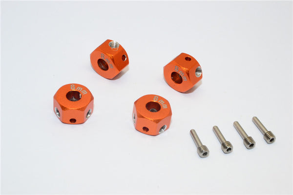 Aluminum Universal Hex Adapter 12mmx8mm - 4Pcs Set Orange
