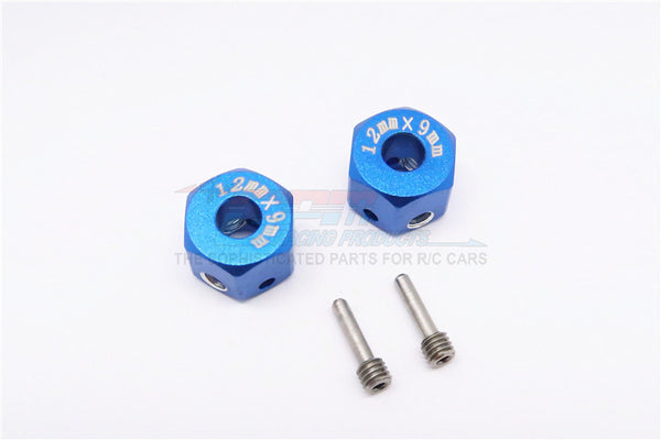 Aluminum Universal Hex Adapter 12mmX9mm - 2Pcs Set Blue
