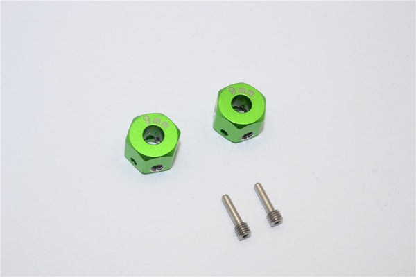 Aluminum Universal Hex Adapter 12mmx9mm - 2Pcs Set Green