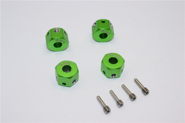 Aluminum Universal Hex Adapter 12mmx9mm - 4Pcs Set Green