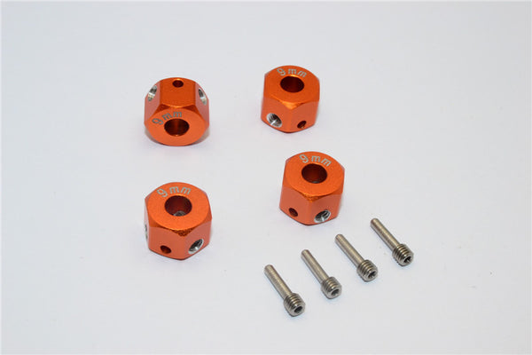 Aluminum Universal Hex Adapter 12mmx9mm - 4Pcs Set Orange