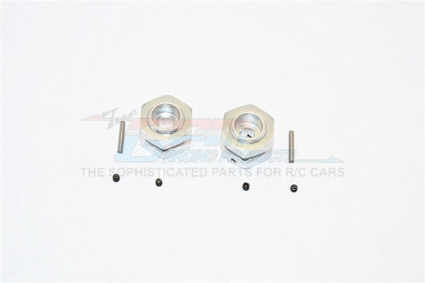 Aluminum Wheel Hex Adapter - 12mm Convert To 17mm and 7mm Offset With 17mm Lock Nut Anti-Loose Design - 2Pcs Set Silver