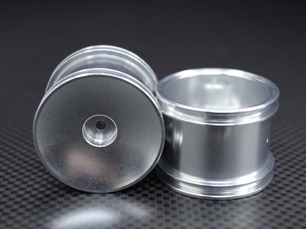 Team Associated RC18T Aluminum Front Standard Sinkage Dish Surface Rims - 1Pr Silver