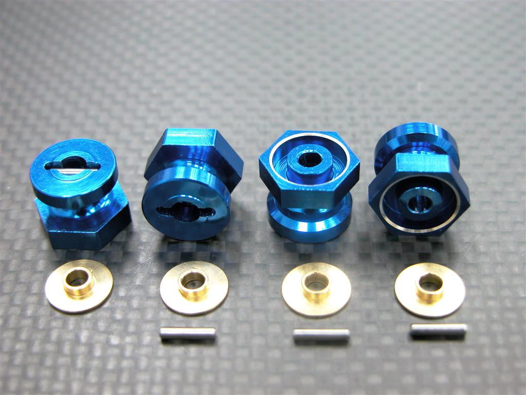 Team Associated RC18T Aluminum Drive Adaptor With Pins & Washers (-1mm) - 4Pcs Set Blue