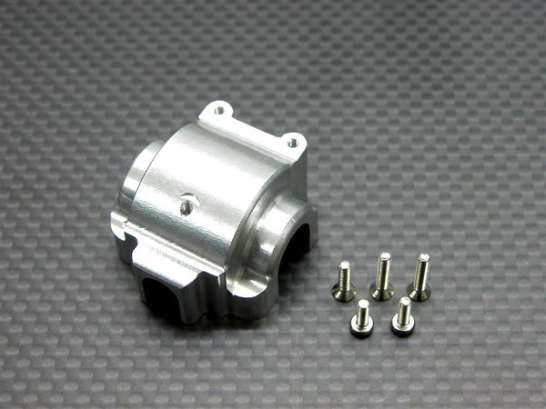 Team Associated RC18T Aluminum Front/Rear Gear Box With Screws - 1Pc Set Silver