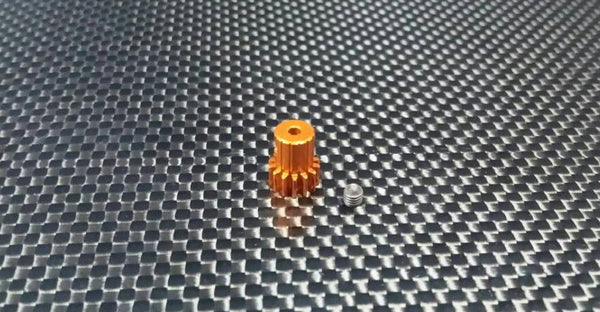 Team Associated RC18T Aluminum Motor Gear (14T) With Screw - 1Pc Set Orange