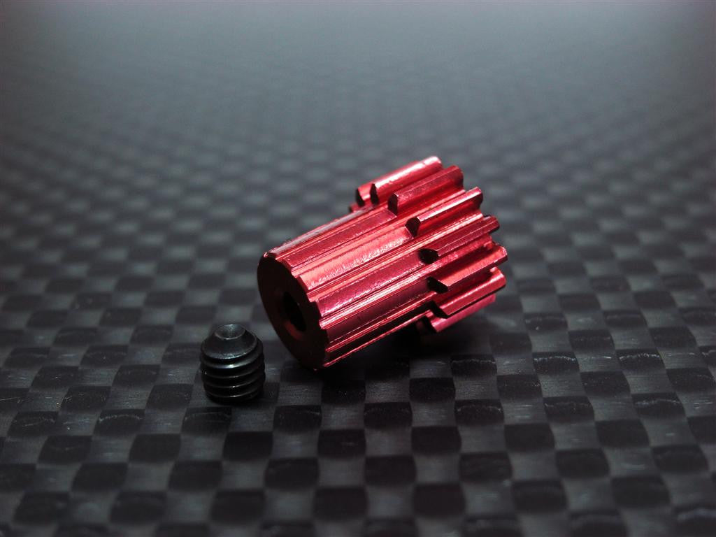 Team Associated RC18T Aluminum Motor Gear (14T) With Screw - 1Pc Set Red