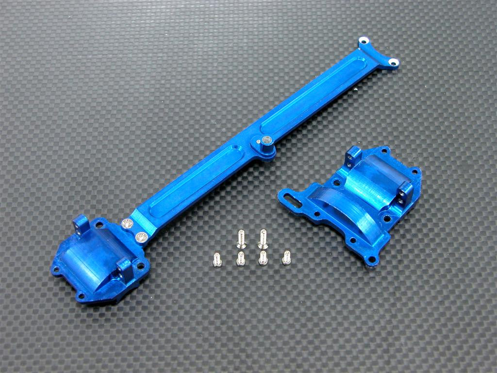 Team Associated RC18T Aluminum Sub-Chassis With Screws - 2Pcs Set Blue