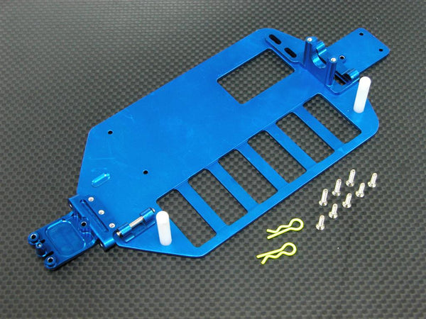 Team Associated RC18T Aluminum Main Chassis With Screws & E-Clips - 1Pc Set (Economy Version) Blue