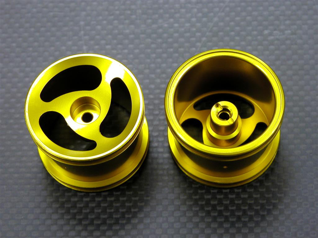 Team Associated RC18T Aluminum Front Standard Sinkage Swirl Surface Rims (3 Poles) - 1Pr Gold