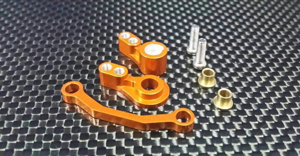 Team Associated RC18T Aluminum Steering Assembly - 3Pcs Set Orange