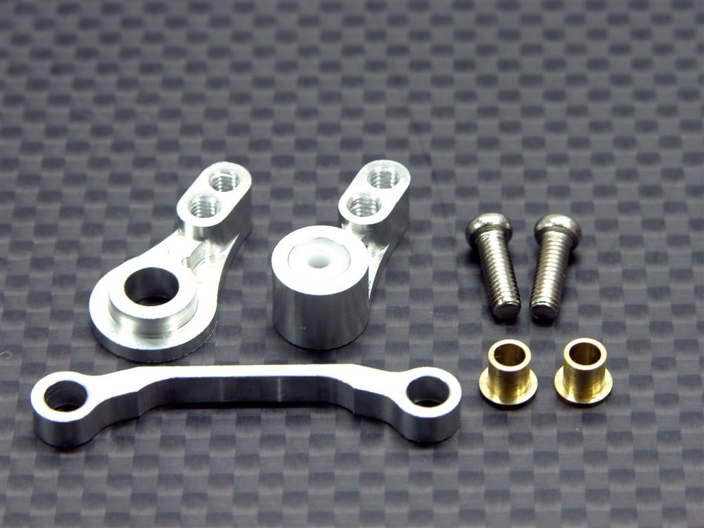 Team Associated RC18T Aluminum Steering Assembly - 3Pcs Set Silver
