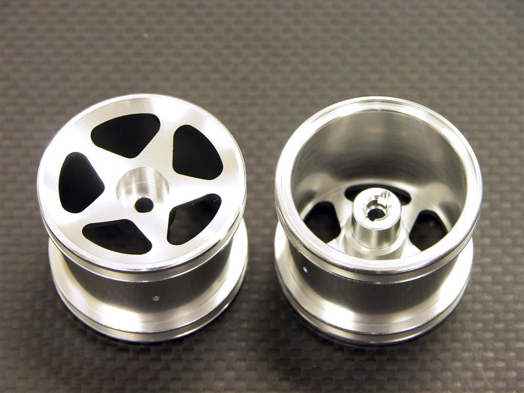 Team Associated RC18T Aluminum Front Standard Sinkage Surface Rims (Star) -1Pr Silver
