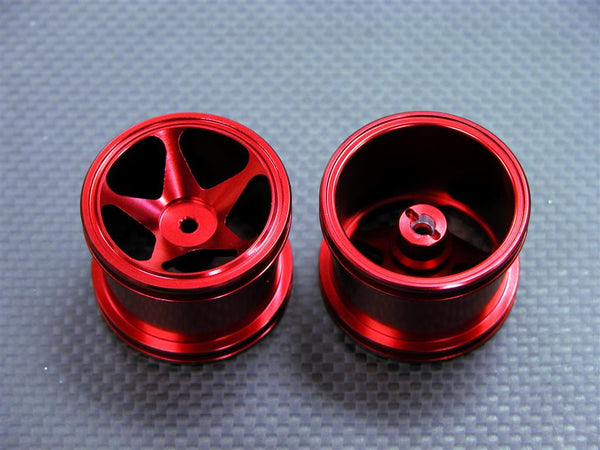Team Associated RC18T Aluminum Front Standard 3D Sinkage Rims (5 Poles) -1Pr Red