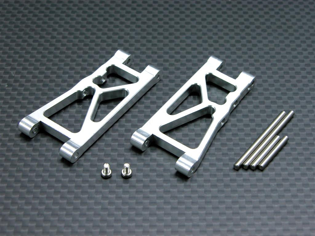 Team Associated RC18T Aluminum Front Lower Arm With Pins & Screws - 1Pr Set Silver