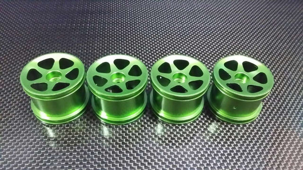Team Associated RC18T Aluminum Front Standard Sinkage Surface Rims (6 Poles) - 2Prs Green