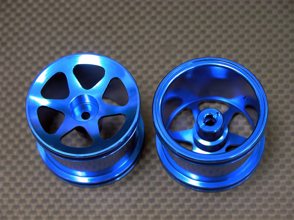 Team Associated RC18T Aluminum Front Standard Sinkage Surface Rims (6 Poles) -1Pr Blue