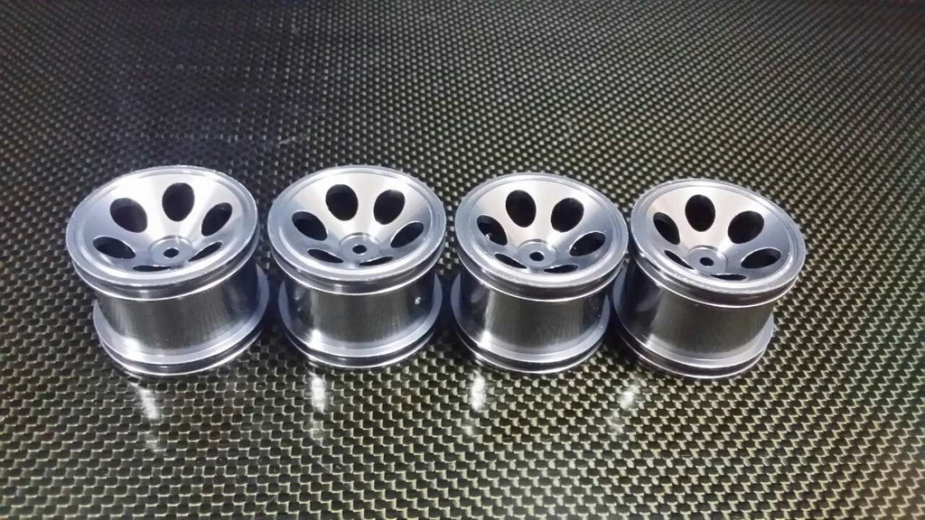 Team Associated RC18T Aluminum Front Standard 3D Sinkage Oval Pattern Rims (6 Holes) - 2Prs Gray Silver