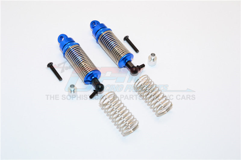 Team Associated RC18T Aluminum Front Adjustable Spring Dampers (47mm) With 1.0mm Springs & 0.9mm Spare Springs & Aluminum Collars & Screws - 1 Pr Set Blue