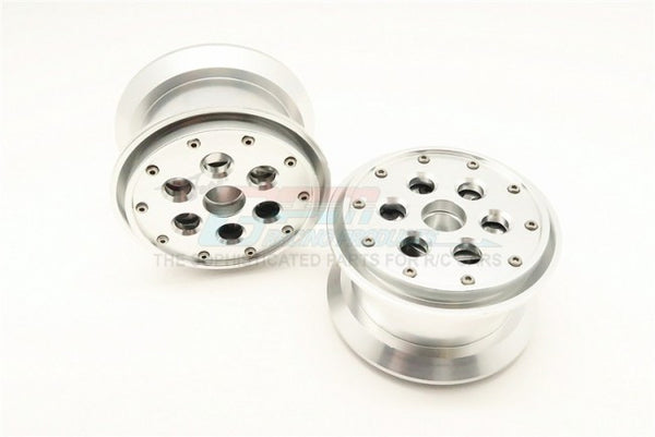 Aluminum Beadlock Weighted Wheels With Weight Holder & Bearings Suitable For All 2.2 Tires - 1Pr Set Silver