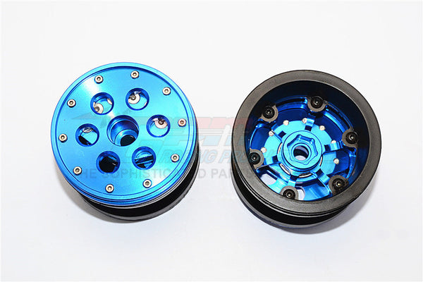 Aluminum+ Plastic Beadlock Weighted Wheels With Weight Holder & Bearings Suitable For All 2.2'' Tires - 1Pr Set Blue
