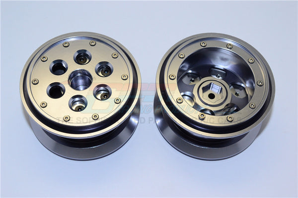 Aluminum Beadlock Weighted Wheels With Weight Holder & Bearings Suitable For All 2.2 Tires - 1Pr Set Gray Silver
