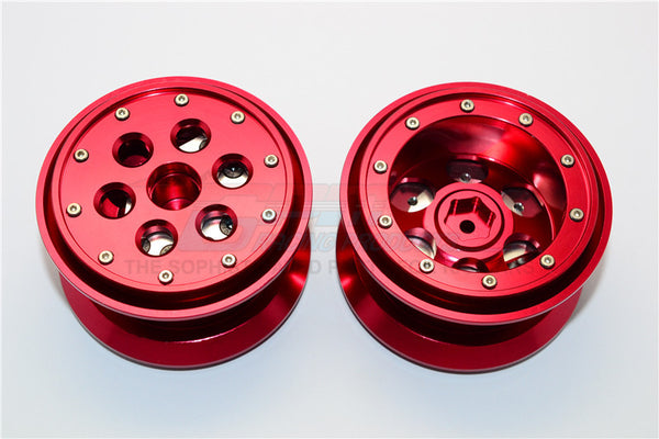 Aluminum Beadlock Weighted Wheels With Weight Holder & Bearings Suitable For All 2.2 Tires - 1Pr Set Red
