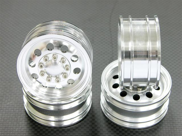 Aluminum Front & Rear 1:10 Wheel (10 Holes) - 2Prs Set Silver