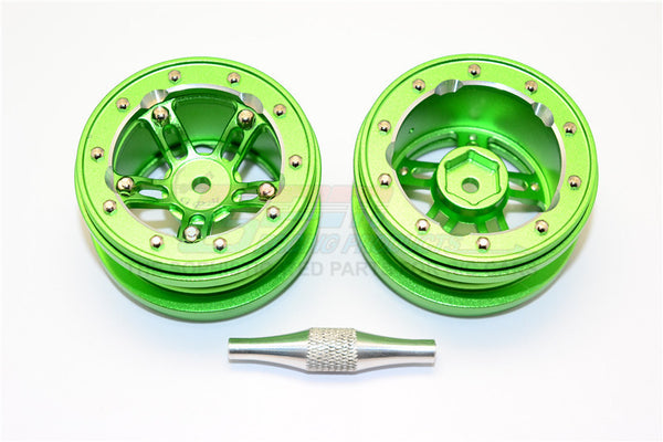 "Aluminum 5 Poles Sparkling Wheels In Silver Edge For 1.9"" Tire With Hex Tool - 1Pr Set Green"