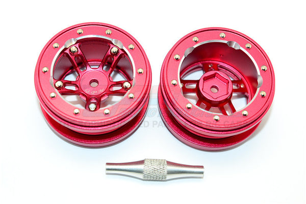 "Aluminum 5 Poles Sparkling Wheels In Silver Edge For 1.9"" Tire With Hex Tool - 1Pr Set Red"