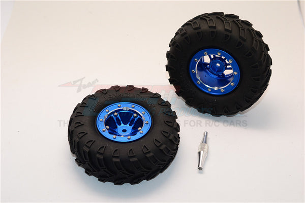 "Aluminum 5 Poles Simulation Wheels In Silver Edge With 1.9"" Tire & Hex Tool (All Silver Screws) - 1Pr Set Blue"