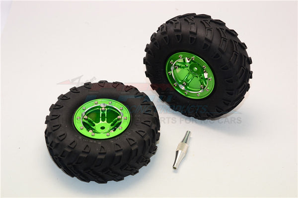 "Aluminum 5 Poles Simulation Wheels In Silver Edge With 1.9"" Tire & Hex Tool (All Silver Screws) - 1Pr Set Green"