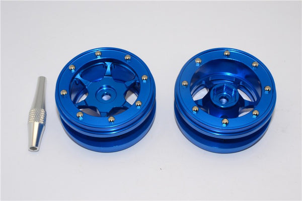 "Aluminum 6 Poles Wheels For 1.9"" Tire - 1Pr Blue"