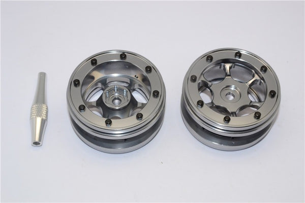 "Aluminum 6 Poles Wheels For 1.9"" Tire - 1Pr Gray Silver"