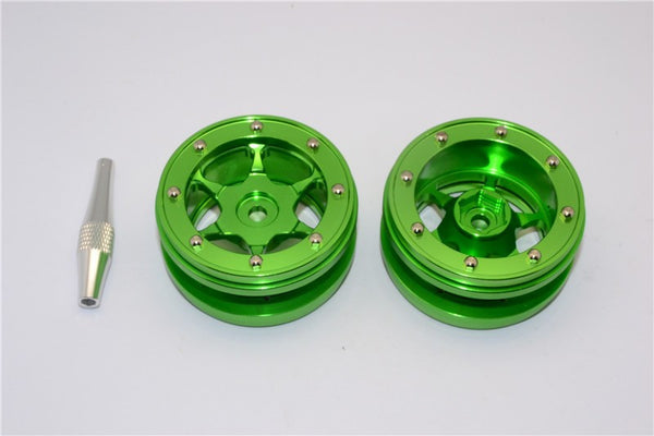 "Aluminum 6 Poles Wheels For 1.9"" Tire - 1Pr Green"