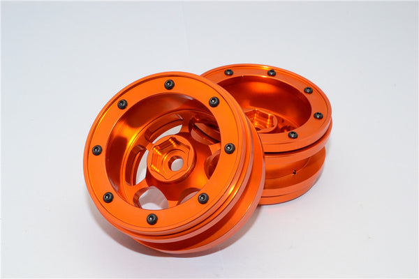 "Aluminum 6 Poles Wheels For 1.9"" Tire - 1Pr Orange"