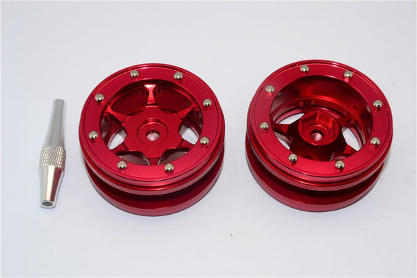 "Aluminum 6 Poles Wheels For 1.9"" Tire - 1Pr Red"