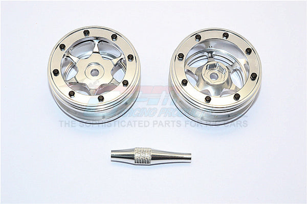 "Aluminum 6 Poles Wheels For 1.9"" Tire - 1Pr Silver"