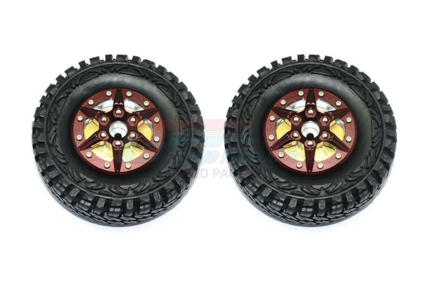 "1.9"" Aluminum 6 Poles Wheels With Brass Pendulum Weight + Crawler Tire -1Pr Set Brown"