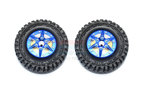 "1.9"" Aluminum 6 Poles Wheels With Brass Pendulum Weight + Crawler Tire -1Pr Set Blue"