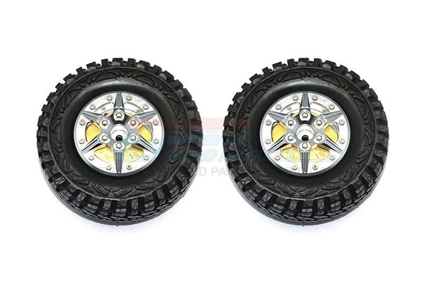 "1.9"" Aluminum 6 Poles Wheels With Brass Pendulum Weight + Crawler Tire -1Pr Set Gray Silver"