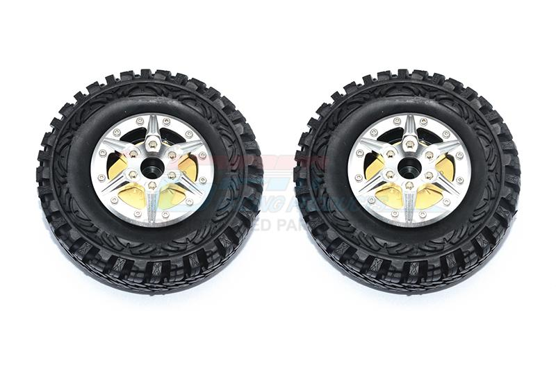 "1.9"" Aluminum 6 Poles Wheels With Brass Pendulum Weight + Crawler Tire -1Pr Set Silver"