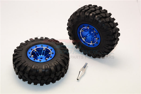 "Aluminum 6 Poles Simulation Wheels In Silver Edge With 1.9"" Crawler Tire & Hex Tool (Inner Silver & Outer Black Screws) - 1Pr Set Blue"