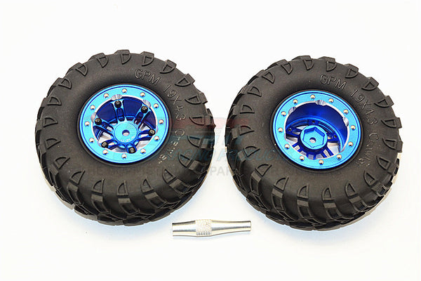 "Aluminum 6 Poles Simulation Wheels In Silver Edge With 1.9"" Tire & Hex Tool (Inner Black & Outer Silver Screws) - 1Pr Set Blue"