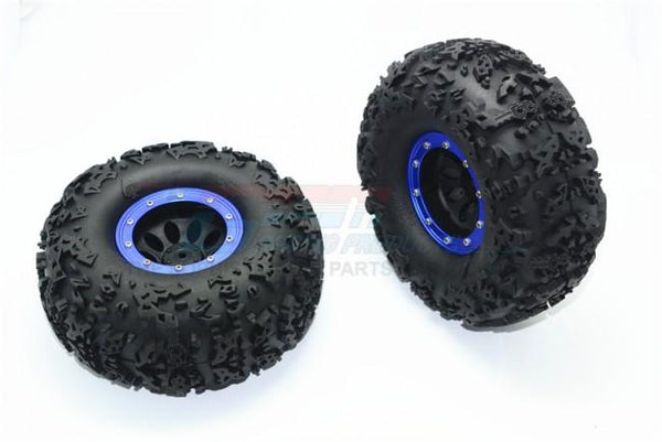 "2.2"" Rubber Rally Tires and Plastic Wheels for 1:10 R/C Cars - 2Pc Set Blue"