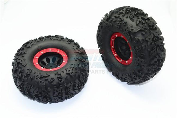 "2.2"" Rubber Rally Tires and Plastic Wheels for 1:10 R/C Cars - 2Pc Set Red"