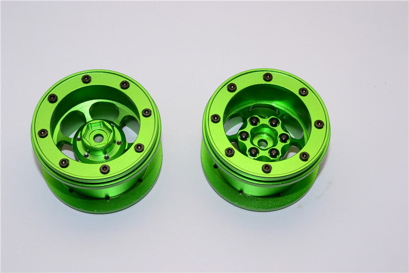 Aluminum 6 Poles Wheels For 2.2'' Tire - 1Pr Green