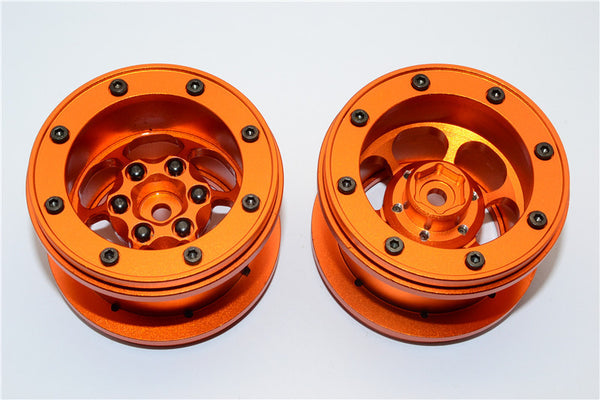 Aluminum 6 Poles Wheels For 2.2'' Tire - 1Pr Orange