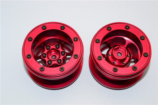 Aluminum 6 Poles Wheels For 2.2'' Tire - 1Pr Red